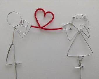 Wedding Cake Topper Bride and Groom Stick Figures with Red Heart and Can Telephones