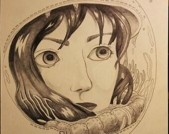 """Original graphite drawing - 8x8"""" - """"Space Terrarium"""""""