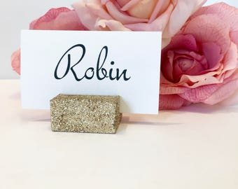 Place Card Holder + Champagne Gold Glittered Place Card Holders (Set of 100)