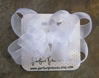 Medium Double Layer Loopy Style Organza Hair Bow in White