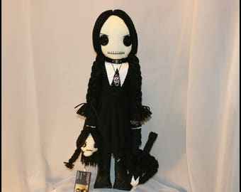 Wednesday Addams Inspired Hand Stitched Rag Doll Creepy Gothic Folk Art By Jodi Cain Tattered Rags