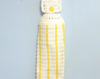 Crochet Top Hanging Kitchen Towel White Textured with Yellow Stripes