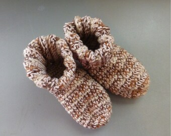 Crochet Slipper Bed Socks Booties Mixed Browns and Tans Size 9 10