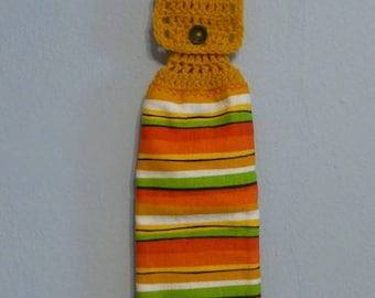 Hanging Kitchen Towel Crochet Top Double Layered Southwestern Colors Red Orange Gold Yellow Green White