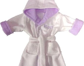 Personalized terry baby bathrobe.