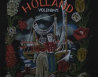 Vintage 50s Volendam Holland Souvenir Velveteen Pillow Cover Front