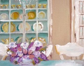 Miniature Art, Print of Interior, The Painted Hutch, Fine Art Reproduction, Cottage Decor, Pastel Colors