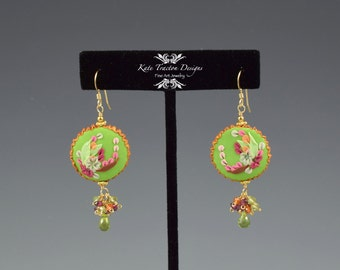 SALE - Flower Spray Earrings, Polymer Clay