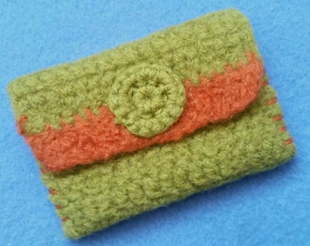 Felted Wool Crochet Wallet Coin Purse olive green and orange