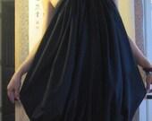 reserved for Sandra only black linen balloon dress / skirt reversible