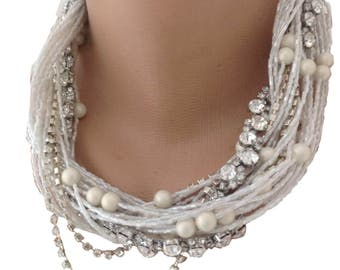 Brand New Czech Glass Pearl Necklace, Brides Jewelries, Multi Strands Ivory Pearl Necklace