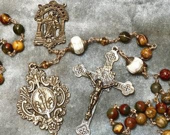 SALE Fall Colors Rosary Unbreakable Wire Wrap Bronze Jassper HeartFelt Rosaries j