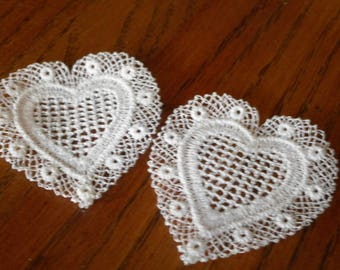 Set of 2 VINTAGE White Heart Sewing APPLIQUE Trim