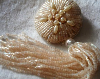 VINTAGE Iridescent Bead & Faux Pearl Glass Beaded Tassel