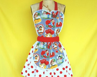 Valentines day apron, vintage Valentines gift for her,  Retro APRON , apron womens full APRON with red dots, Lover Dovers apron