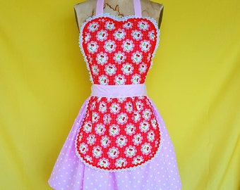 Retro apron,Cherry print apron, pink dots,  hostess gift, womens full apron, Mothers Day gift