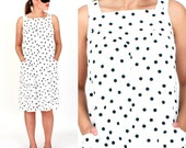 Vintage 1960s Black and White Polka Dot Sleeveless Tent Dress by Alice | Medium