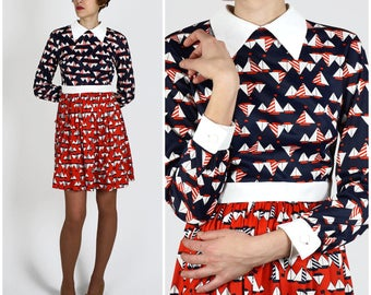 Preppy Vintage 1970s Mini Red, White and Blue Sail Boat Dress with Peter Pan Collar | Small