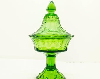 Green Candy Dish, Pedestal Candy Dish, Tiara Compote, Covered Candy Dish, Candy Dish with Lid, Green Glass, Vintage Candy Dish, Tiara Dish