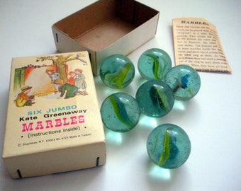 Kate Greenaway Jumbo Marbles in Box with Instructions, Vintage Game