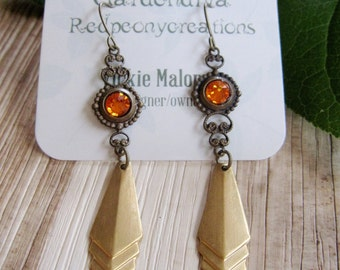 Brass Victoria Earrings, Topaz Vintage Crystal, Dainty, Trendy Brass Jewelry, Art Deco Pendant, Rhinestones, Geometric