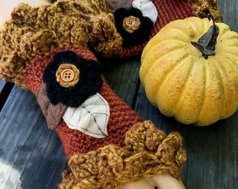 Warm And Leafy Fingerless Gloves