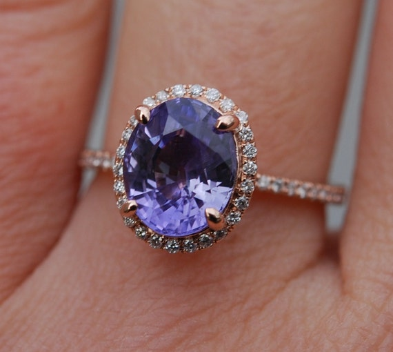 Lavender sapphire ring diamond ring 14k rose gold engagement ring 2.88ct oval lavender sapphire. Engagement ring by Eidelprecious