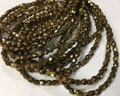 Bronze Gold Czech Glass Firepolished Crystal Beads 4mm