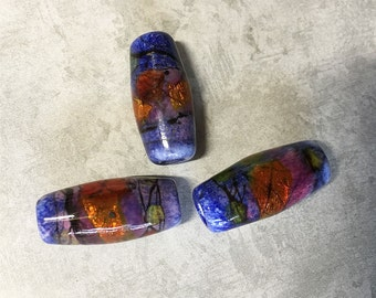 Dichroic Glass Orange and Blue Large Hole Artisan Made Lampwork Glass Beads Stained Glass Look 24mm x 11mm Set of 3 Handmade Beads
