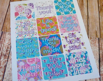 Inspirational Zinnia tags labels PDF - collage art sheet print digital thank you seize the day