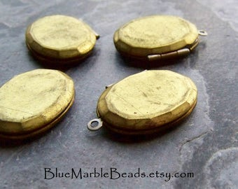 Brass Locket, Brass Finding, Vintage Finding, Picture Locket, Faceted, Oval Locket, Unique Pendant, Keepsake, Imperfect, Spotty, 4 Lockets