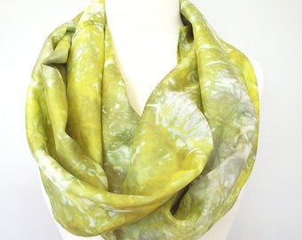 "Hand Dyed Silk Infinity Scarf - 11 x 76"", Chartreuse, Yellow Green and Gray, Long Infinity Loop"