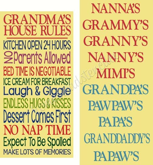 Primitive Stencil 6092 N Set Grandma S House Rules Set