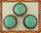 Beads Faux Turquoise Cabochons with Leaf & Dot Pattern Frames ~ 2 Hole Sliders QTY 3     (SKU 527720787)