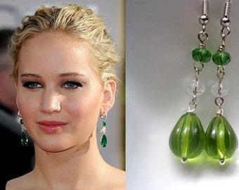 Green Dangle Earrings, Earrings Of Jennifer Lawrence,Celebrity Inspired Jewelry -Green Earrings Long Earrings