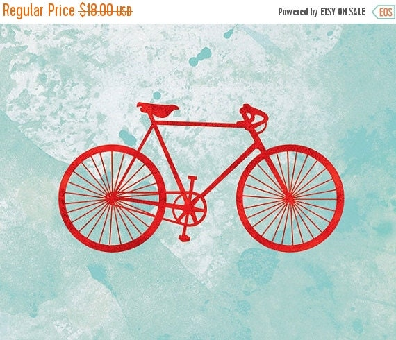50% Off - Black Friday Bicycle Artwork - (red and turquoise) - 8x10 Print