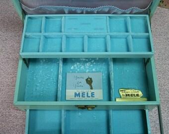 Aqua Green Jewelry Box .  Vintage 50s 60s Mele Blue Velvet Lined Jewelry Box . Three Layers