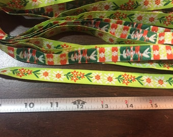 Green & Orange Jacquard Fabric Ribbon - 31 yards