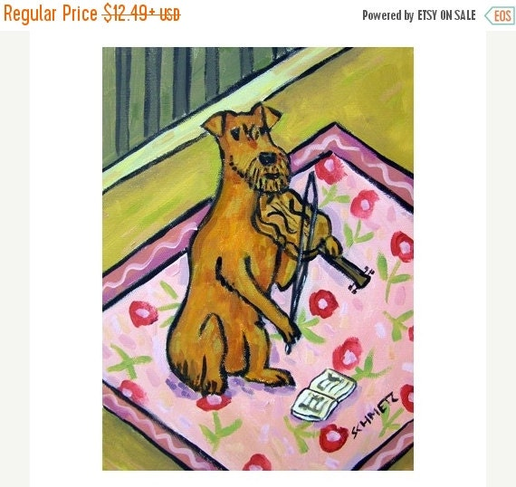 30% off Irish Terrier Playing the Violin Dog Art Print   JSCHMETZ modern abstract folk pop art AMERICAN ART gift