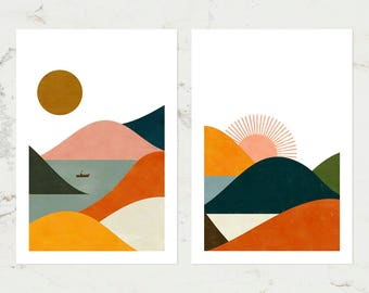 Landscape set of two prints