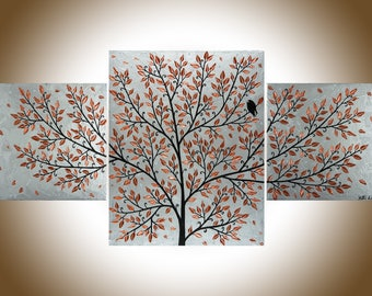"""Copper wall art Silver copper art copper home decor Original artwork painting on canvas wall decor shabby chic """"Quiet Moment"""" by qiqigallery"""