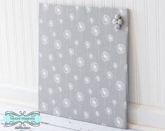 Wall Mount Magnet Board 16inx16in No Frame - Gray and White Dandelion Fabric - Note Board Message Board Command Center Organization