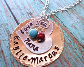 Love you Mom Nana Necklace Birthstone Pearls-Mother's Day Gift - Mommy Mum Necklace- Personalized Names Grammy Nonna Grandma Love-S249