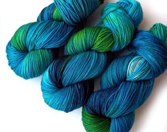 NEW MCN Sock Yarn Handdyed Merino Cashmere Nylon Yarn - Blue Eden