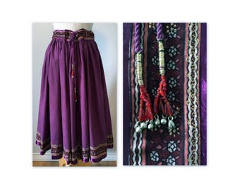 Vintage 70s Circle Peasant Skirt Purple XS with Beaded String Ties