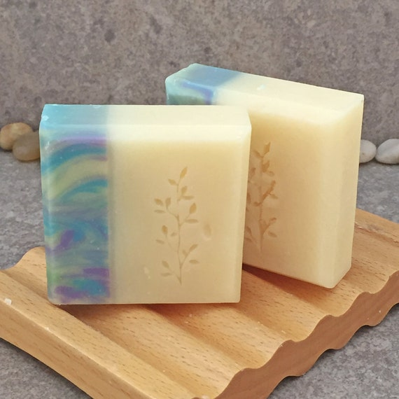 Set of 2 Guest Size Lemongrass Sage Scented Decorative Handcrafted Coconut Milk Bar Soap