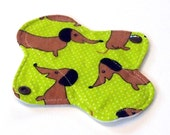 "Reusable Cloth Menstrual pad- 6 inch LIGHT flow pad pantyliner-bamboo/organic cotton core- PUL - cotton flannel in ""Daschunds"""