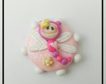 Polymer Clay Pink Dragonfly Charm Bead
