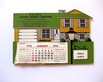 Vintage Die Cut House Lighting Calendar, Desk Calendar, Unused, 1978, Architectural, Foil Lamp