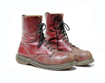 Vintage Men's Burgundy Leather Steel Toe Ankle Boots / size 11.5